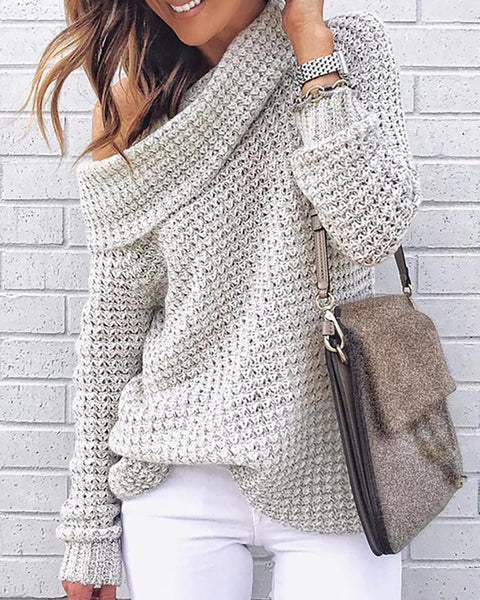 Solid High Neck Knitting Casual Sweater