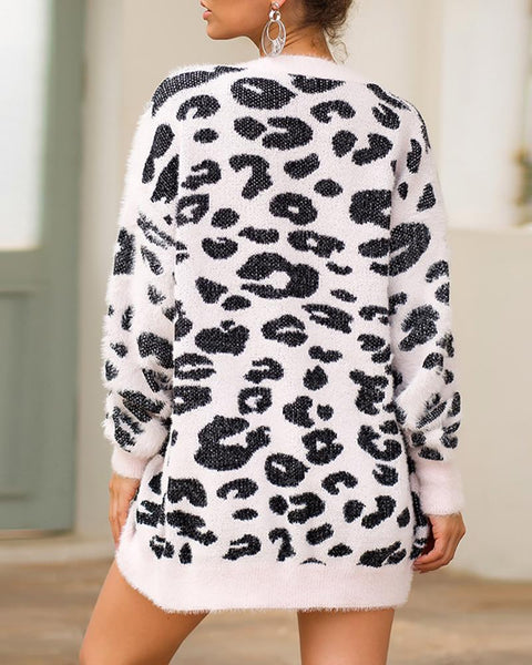 Leopard Buttoned Open Front Casual Cardigan
