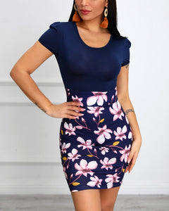 Floral Print Patchwork Bodycon Dress