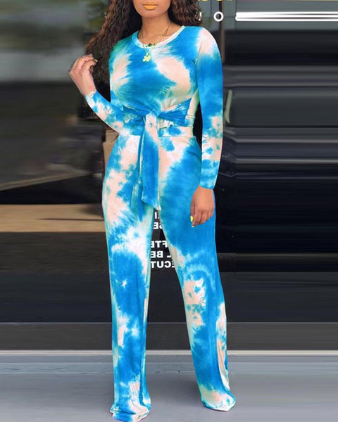 Tie Dye Round Neck Knotted Top & Pants Sets