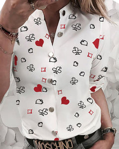 Heart Print Buttoned Design Casual Shirt