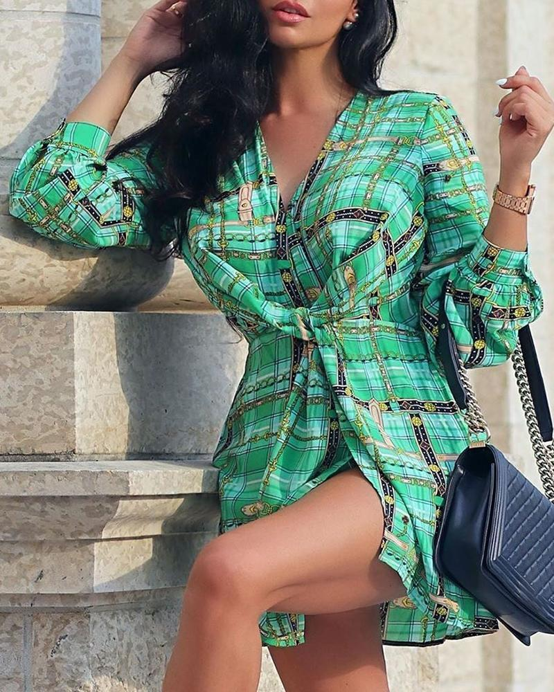 Bandage Knotted Print Shirt Dress