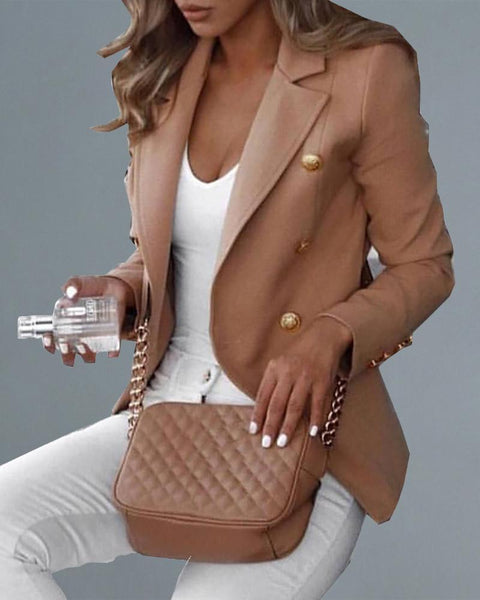 Double Breasted Long Sleeve Solid Blazer