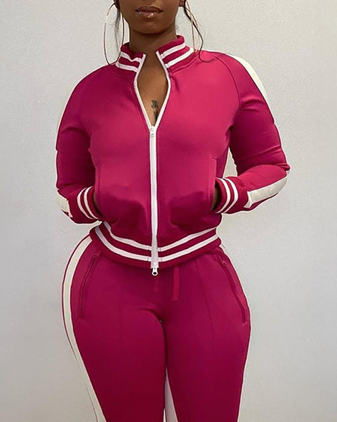 Striped Zipper Cut Out Sleeve Jacket & Pants Sets