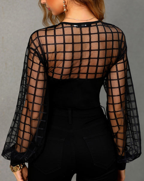 Sheer Grid Mesh Casual Blouse