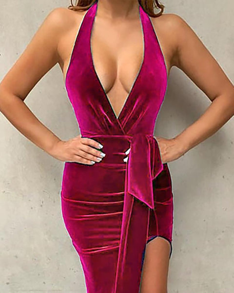 Solid Pleuche High Slit Ruched Dress