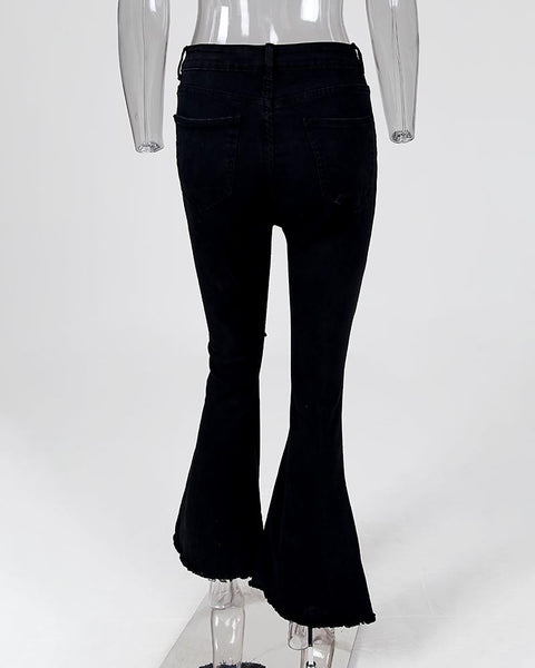 High Waist Pocket Bell-Bottom Destroyed Jeans