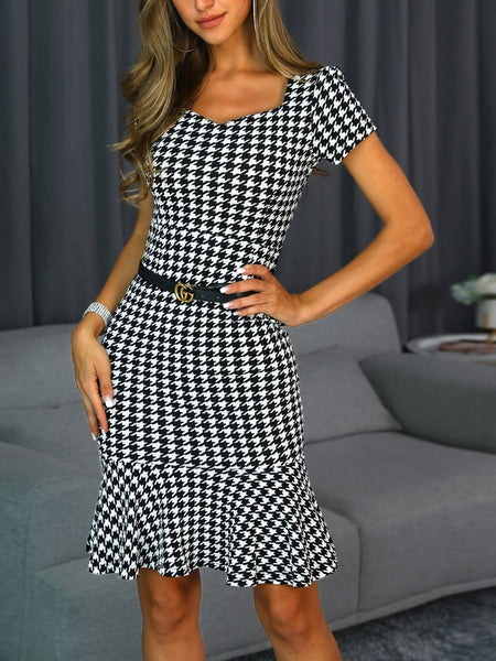 Houndstooth Short Sleeve Ruffles Bodycon Dress
