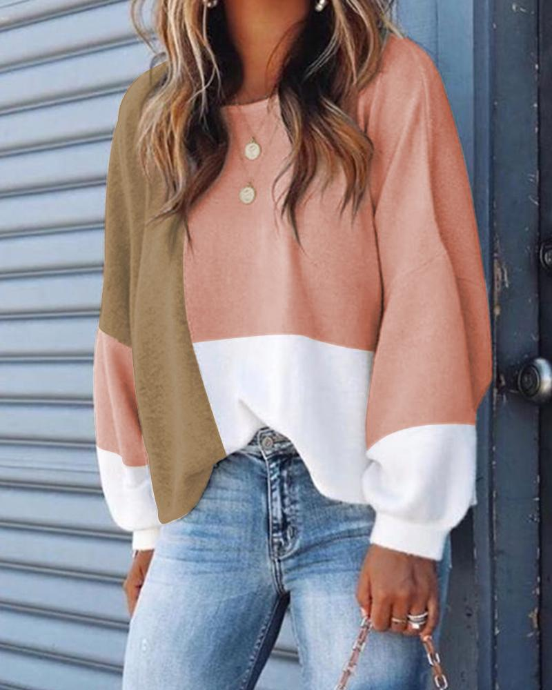 Colorblock Buttoned Design Casual Sweatshirt