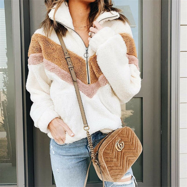 Autumn Women Casual Mohair Pullover Zipper V Neck Fleece Sweater Fashion Sweet Loose Warm Winter Coat Casual Pullover
