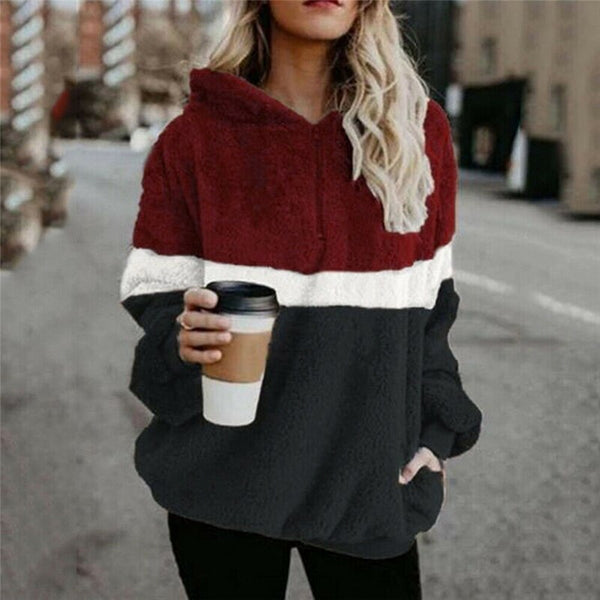 Winter Fluffy Sweater Sherpa Fleece Plaid Hooded Pullovers Cute Patchwork Warm Tops Women Fall Casual Fluffy Sweaters Coat