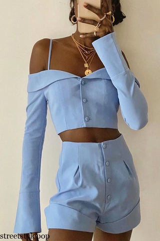 Spring and Summer Women Fashion Off The Shoulder One Word Collar Cardigan Suspender Blouse Shirt