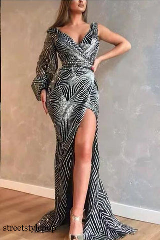 New Sexy V-Neck Long Sleeve Slim Sequin Long Party Dresses