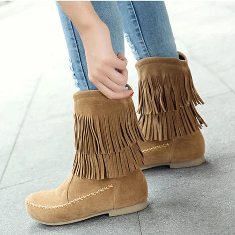 Comfortable Flat-bottomed Women's Shoes Autumn and Winter Warm Tassel Round Head Low-cylinder