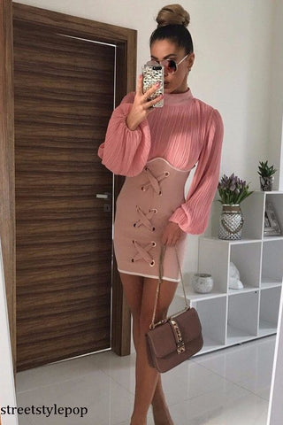 Autumn and Winter Fold Lapel Strap Short Long Sleeve Dress Lady