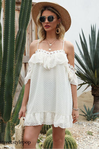 Summer Off Shoulder Fashion Chiffon Lace Sling Dresses