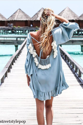 Beach Casual Sexy Long Sleeve Backless Beach Dresses Loose
