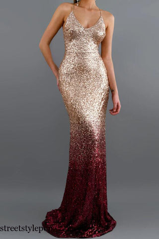 Women Fashion Sexy Backless V Collar Ribbon Sequined Long Evening Dresses