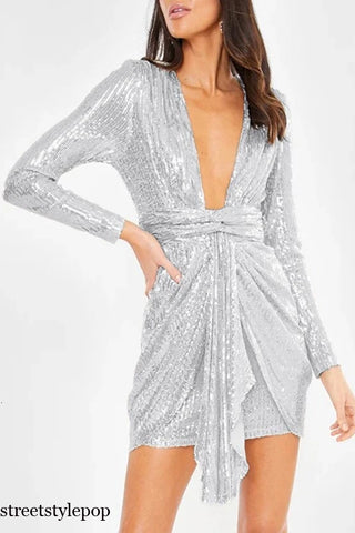 Silver Sequin Women Sexy Pleated Ruch Bodycon Short Mini Party Dresses Female Autumn Streetwear V Neck Vestidos