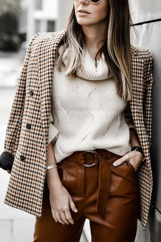 Plaid Button Long Sleeve Blazer