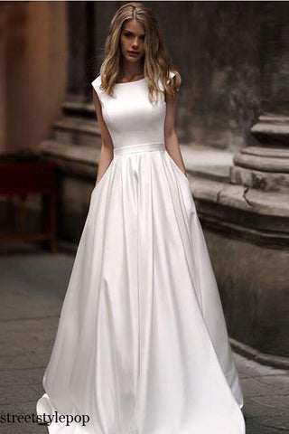 Autumn Vestidos Novias Boda Wedding Dresses Satin Bridal Gowns Sheer Sexy V-back Hochzeitskleid