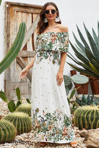 Off Shoulder Fashionable Spring and Summer Printed Dresses