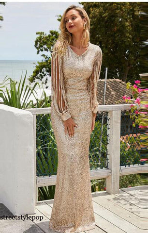 Celebrity Birthday Party V-Neck Long Sleeve Sequin Mop Dresses
