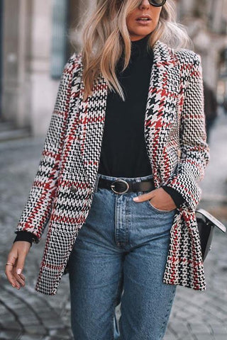 Double-breasted Lattice Woolen Blazer