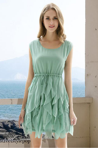 Summer  Women Slim Fashion Sleeveless Chiffon Dresses Ladies