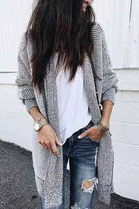 Grid Open Front Coat
