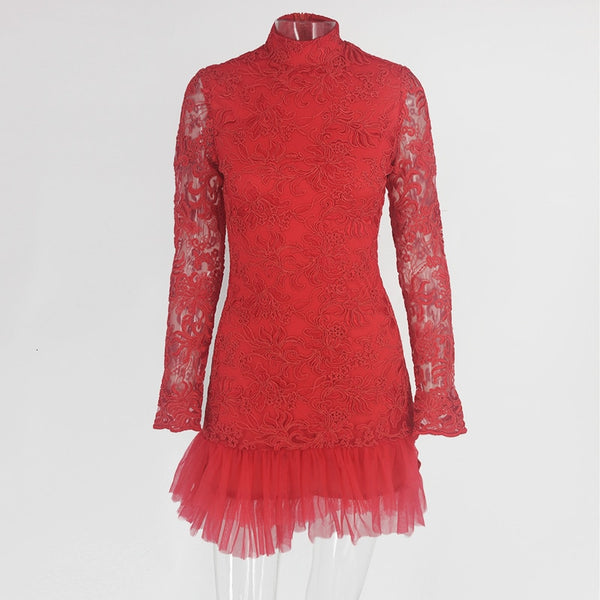 Summer Red Lace Elegant Floral Mesh Long Sleeve Bodycon Dresses Party Mini Festival Evening Vestido Femme