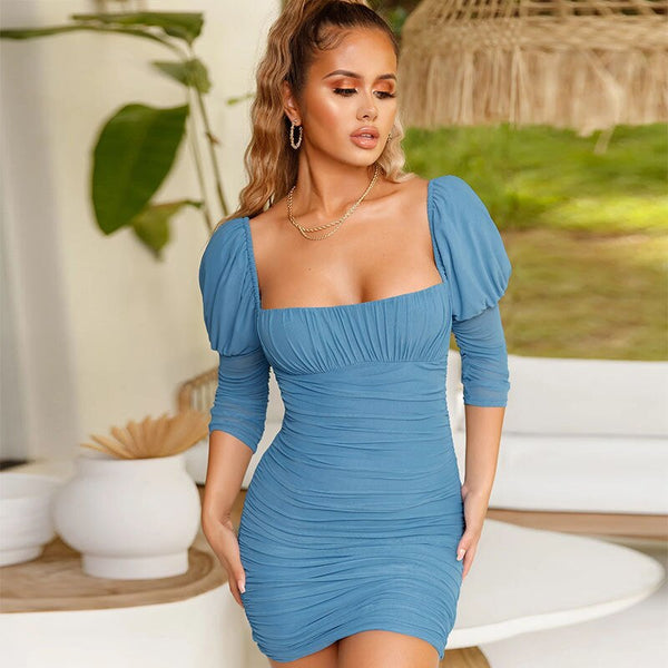 Summer Sexy Mesh Puff Sleeve Ruched Draped Backless Bodycon Mini Club Party Women Dress Vestido
