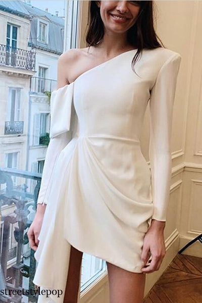 Elegant White Long Sleeve Off One Shoulder Bodycon Party Dresses Autumn Backless Ruffle Mini Vestidos