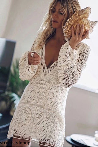 Femme Full of Lace Beach V-neck Hollow Out White Summer Long Sleeve Beach Cover Dress Sexy Bodycon Vestidos