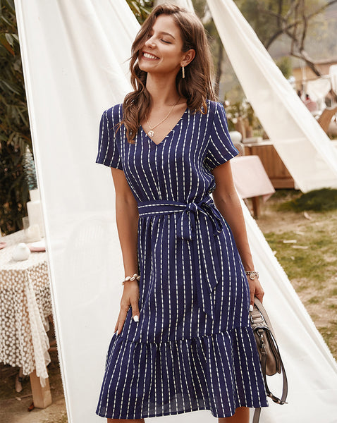 Jessie Vinson Elegant Striped Midi Women Short Sleeve V Neck Sash chic Summer Dresses Robe Femme Vestidos