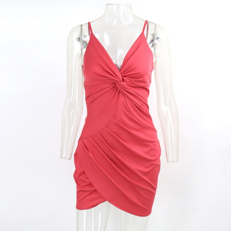 Summer Sexy Red Spaghetti Strap V Neck Bow Tie Ruched Bodycon Dresses Backless Mini Club Party Vestido
