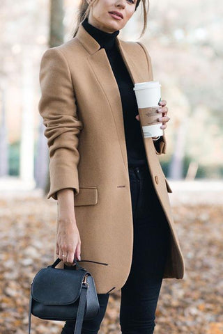 High Collar Button Pocket Coat