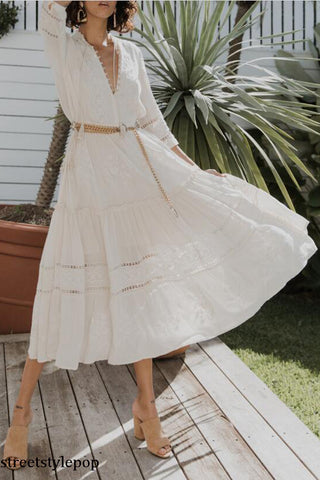 Summer Boho Fairy Princess White Women's Bohemian Holiday Hollow Out Sweet Maxi Dress Mujer Vestidos