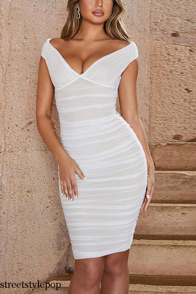 Summer Mesh Sexy White V Neck Ruched Draped Sleeveless Bodycon Club Party Female Dress Vestidos