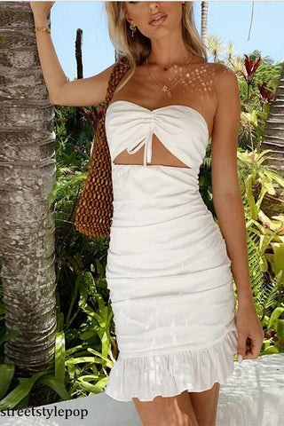 Summer White Sexy Hollow Out Ruched Ruffles Strapless Slash Neck Bodycon Dresses Club Party Vestidos
