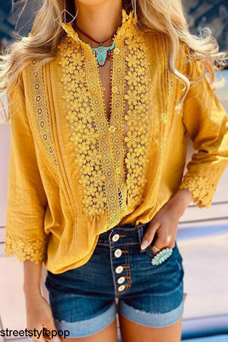 Summer Women Solid Color Lace Shirt Long Sleeve Shirts