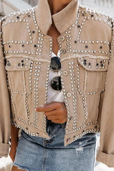 Rivets Denim Short Motor Jacket