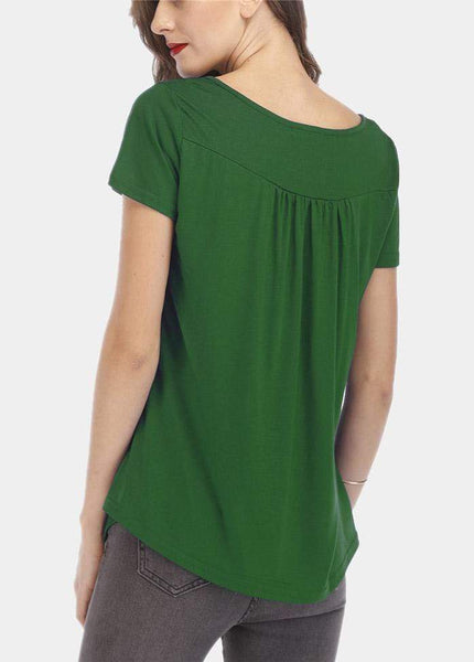 Button Solid Color Short Sleeve Round Neck T-shirt