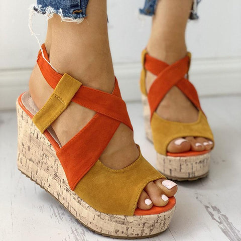 Peep Toe Colorblock Platform Wedge Sandals