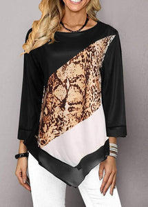 Irregular Printed Patchwork Round Neck Long Sleeve T-shirt