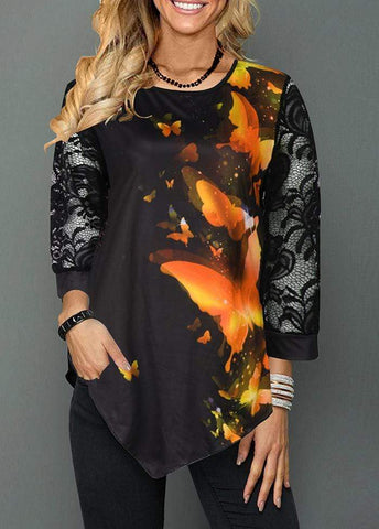 Irregular Printed Round Neck Long Sleeve T-shirt