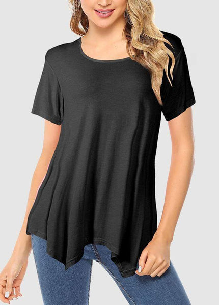 Irregular Round Neck Short Sleeve Solid Color T-shirt