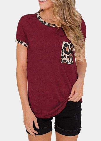Leopard Printed Patchwork Round Neck Short Sleeve T-shirt