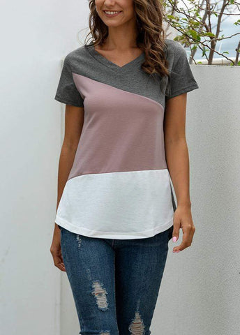 Patchwork V Neck Short Sleeve T-shirt