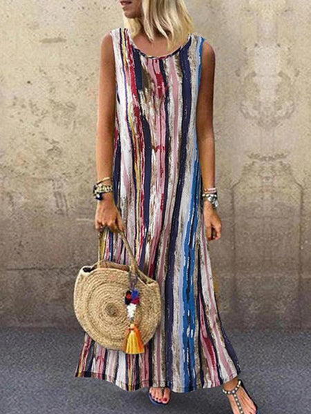 Women's Contrast Color Long Printing Round Neck Sleeveless A-Line Skirt Dress